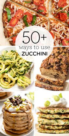 Here's a list of 50  zucchini recipes! We've got homemade breads, healthy breakfast ideas, zucchini noodle recipes, vegan zucchini salads, tons of lunch and dinner inspiration, gluten-free desserts and more! Plus tips for storing, and how to cook and bake with zucchini! Zucchini Desserts, Zucchini Noodle Recipes, Healthy Zucchini, Feasting On Fruit, Vegetarian Recipes, Healthy Recipes, Free Recipes, Breakfast Recipes, Breakfast Ideas