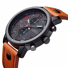 NIUBILITY 8192 Men Orange PU Leather Strape Quartz Wristwatch * Find out more about the great product at the image link.