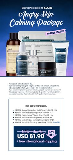 Angry Skin Calming Package is designed for those with constant acne problems, redness caused by irritation, and sensitive skin from external factors.