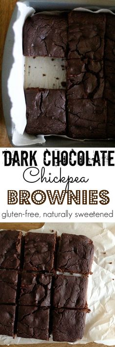 Dark Chocolate Chickpea Brownies - healthy flourless brownies made with garbanzo beans and naturally sweetened | TheRoastedRoot.net #dessert #chocolate #recipe #glutenfree