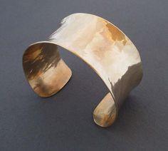 Gold Cuff Bracelet Modern Jewelry Hammered Brass Cuff Artisan Handmade Classic Everyday Jewelry