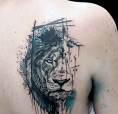 50 Lion Back Tattoo Designs For Men – Masculine Big Cat Ink Ideas Abstract Watercolor Male Lion Upper Back Tattoos Animals….all animals and my dogs…. Lion Back Tattoo, Lion Forearm Tattoos, Small Lion Tattoo, Mens Lion Tattoo, Lion Tattoo On Finger, Lion Shoulder Tattoo, Lion Head Tattoos, Band Tattoos, Leo Tattoos