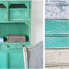 You can use Saltwash to create beautiful, distressed adn shabby looks like this by simply adding to your base layer of paint. Available at Bird on the Hill Designs #vintagestyledecor #shabbychicdecor #vintagekitchen #saltwashlook Shabby Look, Small Tins, Painted Furniture, Furniture Decor, Shabby Chic Decor, Vintage Kitchen, 9 Square, Base Coat, Sea Salt