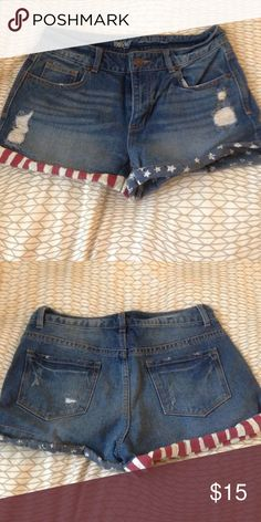American flag high waist short shorts Never worn. High waist. Distressed look with American flag fabric around legs. Mossimo Supply Co. Shorts Jean Shorts