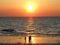 Walking on Hunstanton Beach at Sunset
