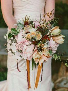 Bride's Fall/Autumn Bouquet: Pink Peonies, Pink Riceflower, Peach/Green Amaryllis, Peach/Green Roses, Burgundy Ranunculus, Chocolate Scabiosa, White Ranunculus, Autumn Greenery + Foliage^^^^