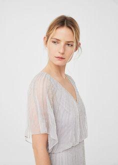 Vestido bordado abalorios -  Mujer | MANGO España