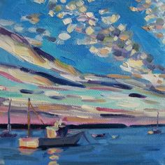 Floating on Casco Bay 5x5 oil on canvas $75, painting by artist Elizabeth Fraser