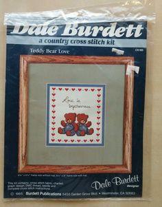 Vintage Dale Burdett Cross Stitch Kit TeddyBear Love 1985 Made In USA  #DaleBurdett