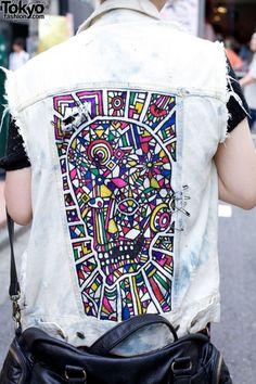 Painted remade denim vest