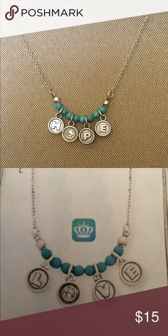 Sweetness necklace Saids hope on one side , the other side saids love... antique matte silver plated, genuine reconstituted turquoise, crystal Premier Designs Jewelry Necklaces
