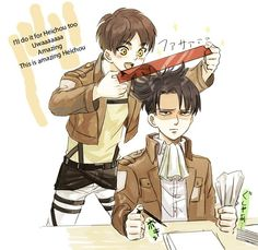 "Levi's facial expression is one of pure ""I am so done with this little sh*t."" 