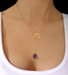 Amethyst Lariat Necklace - Amethyst Drop Necklace in Gold or Sterling Silver