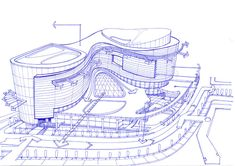 Architecture drawing - exterior sketch of a shopping mall - concept by soran shangapour Shopping Mall Architecture, Hotel Design Architecture, Architecture Concept Drawings, Architecture Sketchbook, Commercial Architecture, Futuristic Architecture, Facade Architecture, Sustainable Architecture, Mall Design