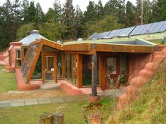A side view of one of the better earthship examples