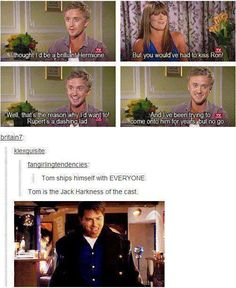 Tom Felton: The Jack Harkness of the Harry Potter cast Harry Potter Jokes, Harry Potter Cast, Harry Potter Universal, Harry Potter Fandom, Tom Felton, Drarry, Dramione, Fandoms Unite, Dr Who