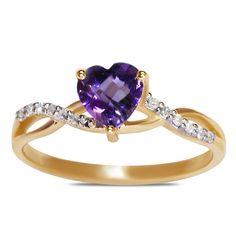 Ebay NissoniJewelry presents - .06CT Diamond w/ Created Amethyst Heart Ring 10k Y/Gold    Model Number:FRV6582-Y077CA    http://www.ebay.com/itm/06CT-Diamond-w-Created-Amethyst-Heart-Ring-10k-Y-Gold-/222062029916