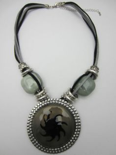 Sun Disc Pendant Necklace Irish Designer Multi Row Cord Grey Silver Large