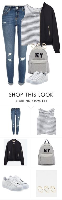 """Untitled #3933"" by keliseblog ❤ liked on Polyvore featuring River Island, MANGO, Zara, Joshua's, adidas Originals and SELECTED"