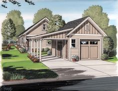 Battle shack Garage Plan 30505 Bungalow Cottage Craftsman Plan 1 Bathrooms 2 Car Garage at family home plans Garage House, Garage Préfabriqué, 2 Car Garage Plans, Carport Plans, Br House, Shed Plans, Garage Ideas, Garage Storage, Detached Garage Plans