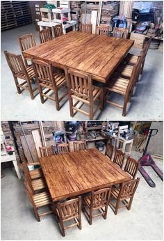 How cool and brilliantly this creation of wood pallet dining furniture has been crafted out for the house decoration! It is a masterpiece creation art work where wood pallet planks are placed together in an assembled form. Planks shaded with the variations in the rustic brown paint color blends that is bringing a sparkling sort of effect into it.