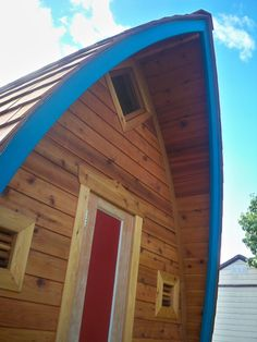 Cedar siding, trim, and roof on Fortune Cookie.