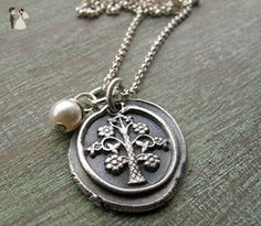 Family Tree Necklace, Tree of Life, Fine Silver Metal Clay, Mother's Gift, Mother's Necklace, Grandmother Gift - Wedding nacklaces (*Amazon Partner-Link)