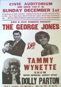 Concert poster for George Jones and Tammy Wynett show featuring Dolly Parton
