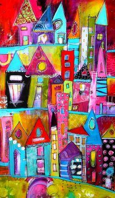 Bunt und Fett Funky City Scape Acryl Malerei 24 x 36 von JodiOhl (Cool Paintings) Art Lessons, Colorful Art, Art Journal Inspiration, Art Painting, Miniature Art, Naive Art, Painting, Whimsical Art, Art