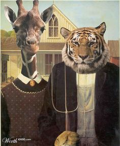 Don't they have rednecks, not long necks, in the Midwest? Inset: American Gothic by Grant Wood American Gothic Painting, American Gothic House, Grant Wood American Gothic, American Gothic Parody, Kittens In Costumes, Collages, Famous Artwork, Cat Art Print, Goth Art