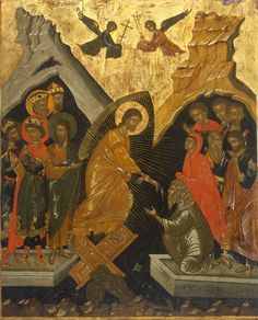 Detailed view: E003. Resurrection- exhibited at the Temple Gallery, specialists in Russian icons