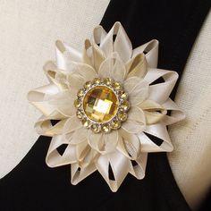 Flower Pin - Ribbon Flower Pin, Beige Gold by PetalPerceptions