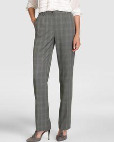 Pantalón recto de mujer Antea con cuadro galés en gris