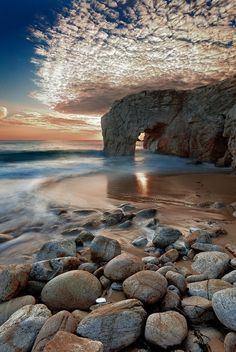 Port Blanc at sunset. Quiberon, Brittany, France.