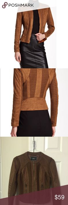 """Blanc Noir Brown Faux Suede Jacket Crew neck, long Sleeves. Front zip closure. Faux suede construction. Textured knit throughout, approx. 22"""" length, some loose snags on the back that can easily be treated  Bundle for a special offer just for you, or make an offer  blanc noir Jackets & Coats"""
