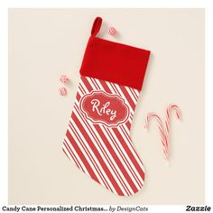 Candy Cane Personalized Christmas Stocking