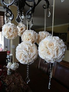 ivory Bridal pomander wedding decor