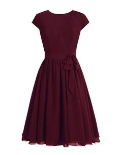 Tidetell 1950s Round Neckline Bridesmaid Dress Cap Sleeve Short Mother of Bride Dress Burgundy Size 22W