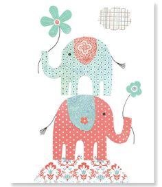 Aqua and Coral Nursery Elephant Nursery by SweetPeaNurseryArt, $15.00