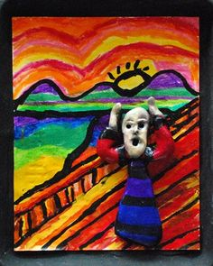 "Create ""The Scream"" in 2-D and 3-D interpretations. The most expensive painting ever sold to date.  How cool would it be to use this idea with other artists as well, creating soft sculpture art dolls for the focal point in famous portraits!"