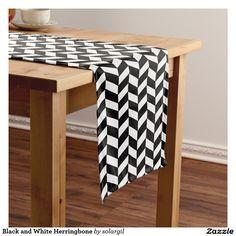 Black and White Herringbone Short Table Runner