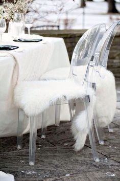 Faux Fur chair covers turn up the luxe factor on Victoria Ghost Chairs Ikea Wedding, Wedding Chairs, Wedding Seating, Ghost Chair Wedding, Wedding Bride, Wedding Decor, Wedding Reception, Wedding Fur, Table Wedding