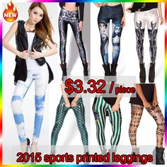 Find More Leggings Information about 3D galaxy digital printed sport leggings for women fitness trousers black punk girl casual capris long pencil pans spandex,High Quality leggings store,China pants fall Suppliers, Cheap pants for tall women from DFH International Knitting Co., Ltd.