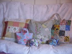 A small selection of my products, made from vintage and modern fabrics.  http://www.bobbinsup.co.uk/