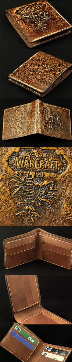 World of Warcraft Carved Short Wallet For Men Gamers Wowers #WOW #World of Warcraft Link:http://www.everhandmade.com/collections/short-wallets/products/handcraft-custom-wow-lich-king-arthas-carved-leather-short-wallet-for-men