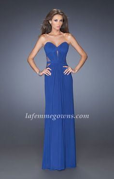Cheap Long Blue Strapless Homecoming Dresses by La Femme 20094