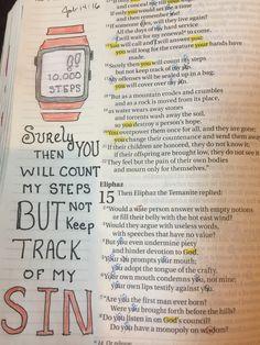 Bible journaling Job 14:16 Job Bible, Bible Art, Bullet Journal, Faith, Joy, Writing, Art Journaling, Scriptures, Journals