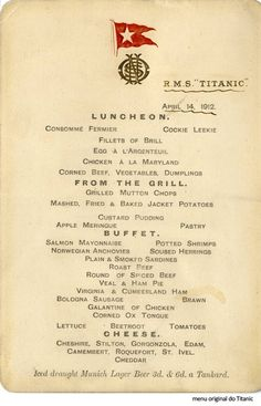 Menu original do Titanic / Titanic´s original menu