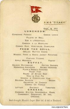Menu original do Titanic / Titanic´s original menu