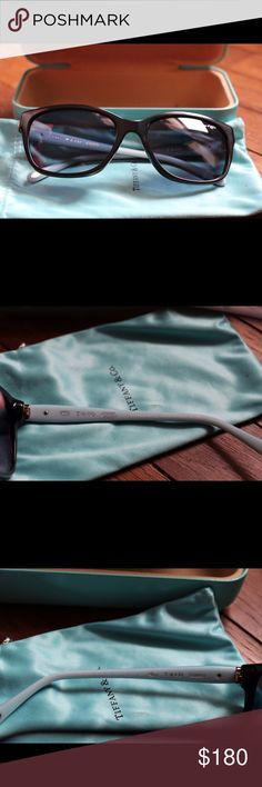TIFFANY & Co TF 4083 8001/4L Black Blue Sunglasses ONLY USED TWICE! I bought these in May and I am just not reaching for them as much as my other pairs of sunglasses. Comes with the cloth case and hardshell case.  Any further questions feel free to contact me! Tiffany & Co. Accessories Sunglasses